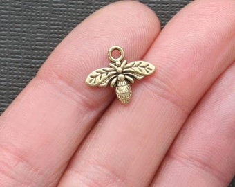 16 Bee Charms Antique  Gold Tone Two Sided - GC084