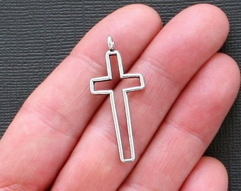8 Cross Charms Antique Silver Tone 3D Large Size - SC1894