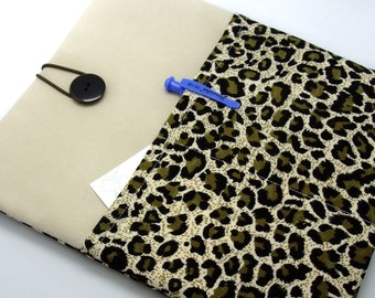 SALE 13 Macbook Pro case, 11 Macbook Air cover, 12 iPad Pro sleeve, Laptop case, Custom tablet sleeve -2 pockets PADDED Leopard print