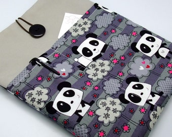 iPad Air case 2, iPad cover, iPad sleeve/ Samsung Galaxy Tab 3 10.1 with 2 pockets, PADDED - Pandas