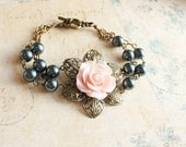 Pink Rose Bracelet Floral Cuff Bracelet Smoke Dark Blue Pearl Antique Brass Filigree Pastel Pink Rose Bridal Accessory Bridesmaid Jewelry