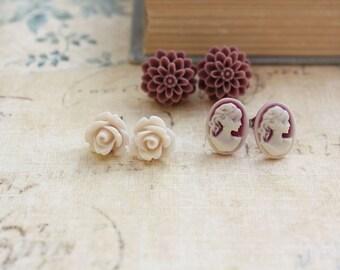 Flower Stud Earrings Romantic Little Earrings Surgical Steel Posts Vintage Inspired Cameo Ivory Cream Rose Plum Purple Dahlia Nickel Free