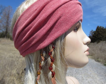 7 Colors Yoga Turban Headband Hairband Cotton Knit  Hair Wrap Pink Rose Coral  A1149