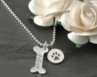 Dog Bone and paw print Necklace - Personalized - Sterling Silver