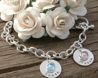 Two disc Personalized name Charm bracelet with birthstones, Mom or Grandma, Hand Stamped Bracelet, Name Bracelet, Mommy Brag Bracelet