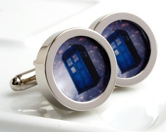Tardis Cufflinks - Doctor Who's Transportation - Purchase with Doctor Who Cufflinks for Special Offer