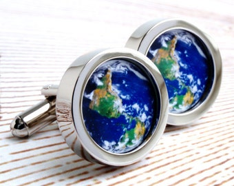 The World from Space Cufflinks - the World in Your Hands PC528