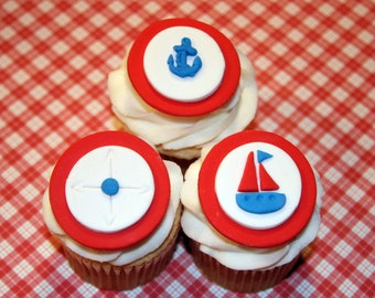 Fondant cupcake toppers Nautical theme baby shower Sailboat  Anchor