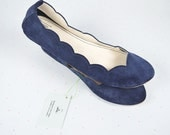 Navy Blue Soft Suede Scalloped Handmade Ballet Flats