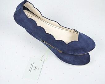 Navy Blue Soft Suede Scalloped Handmade Ballet Flats