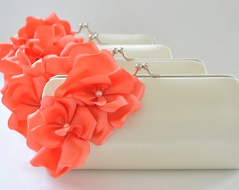 Set of 9 Small Bridesmaid clutches / Wedding clutches - CUSTOM COLOR