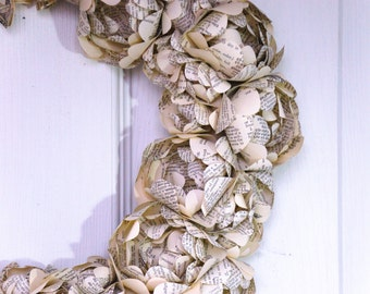 Paper Flower Wreath Made From Recycled Book Pages