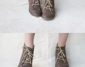 Leona in Brown - Handmade Leather flat lace-up ankle boots - CUSTOM FIT - TheDrifterLeather