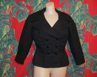 M / L - Vintage 40's 50's charcoal dark grey flannel fitted elegant bombshell pin up double breasted fitted jacket by Marquise
