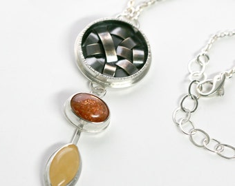 Silver Sunstone and Aragonite Pendant Necklace - Organic Basket Weave One of a KInd Statement Necklace