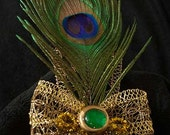 Golden Peacock Comb Fascinator