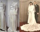 1940s Vintage Ivory Slipper Satin And Lace Wedding Dress