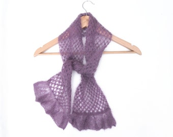 Womens lace scarf , spring accessory ,  lightweight scarf , Lilac Purple hand knit scarf , elegant wedding wear , gift for her / mother