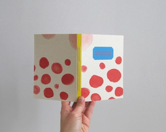 hand stitched notebook - red shapes