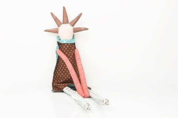 spikes  doll - Flowery mint blue,Peach, turquoise ,pink  and punctuated brown funky handmade rag doll With cool Haircut