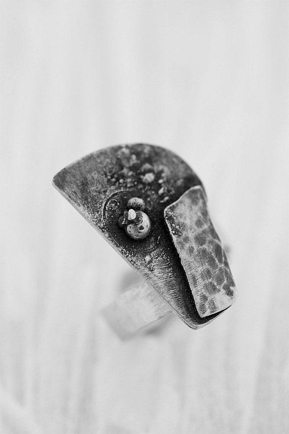 Big Ring- Black Ring - Modern Statement Ring- Silver Adjustable Ring