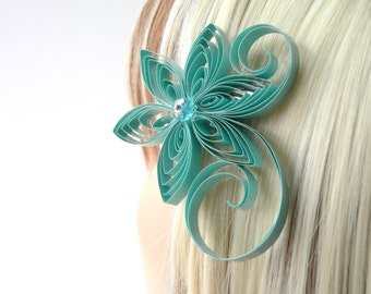 Grayed Jade Bridal Flower Hair Accessories, Grayed Jade Wedding Hair Clip, Grayed Jade Wedding Hair Accessory