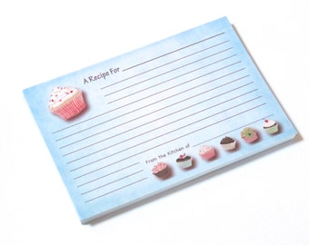 Recipe cards - Cupcakes - 4x6 inch - set of 100 - DOUBLE SIDED - for bridal shower