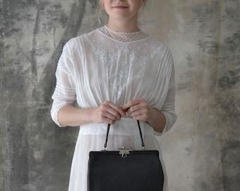 Edwardian Era Black Grained Leather Handbag