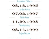 Important Dates Print - What a Difference a Day Makes, Your Family's Story, Birthdays, Wedding, Digital Printable, 8 x 10, Customizable