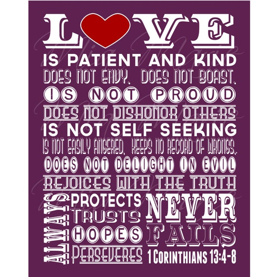 Wedding Reading Love Is Patient: Love Is Patient Scripture Art 1 Corinthians 13 Christian