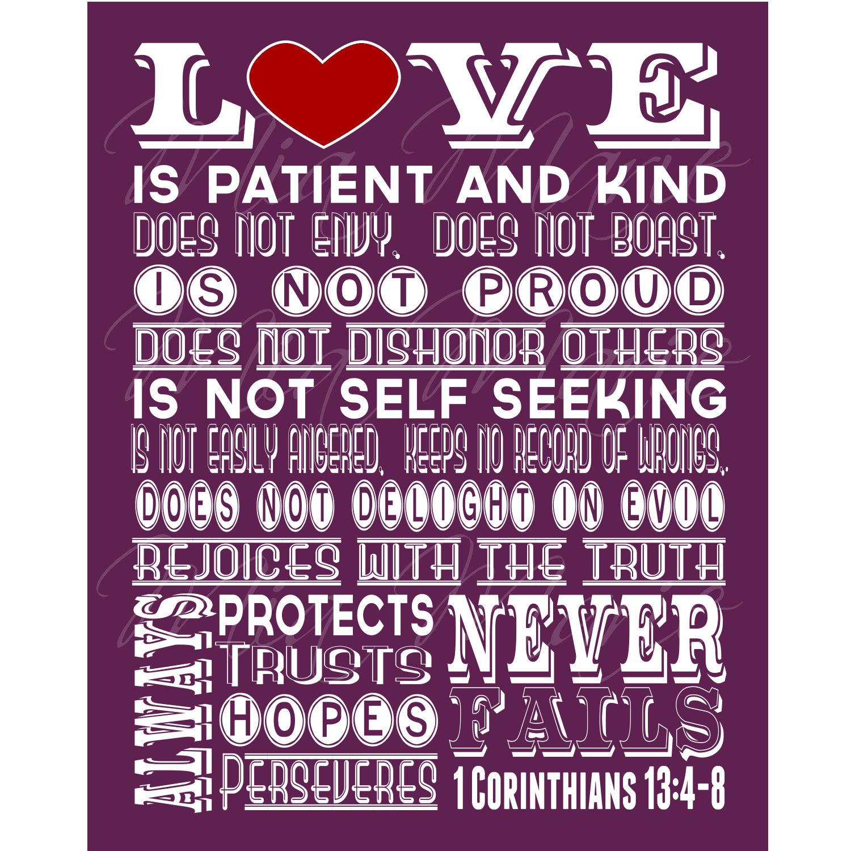 love is patient scripture art 1 corinthians 13 christian. Black Bedroom Furniture Sets. Home Design Ideas