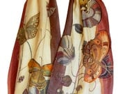 Flowers and Butterflies Hand Painted Silk Scarf. Spring Fashion Scarf. Gift For Her. Wearable Art Scarf. Brown, Ocher, Beige, Bordo, Red