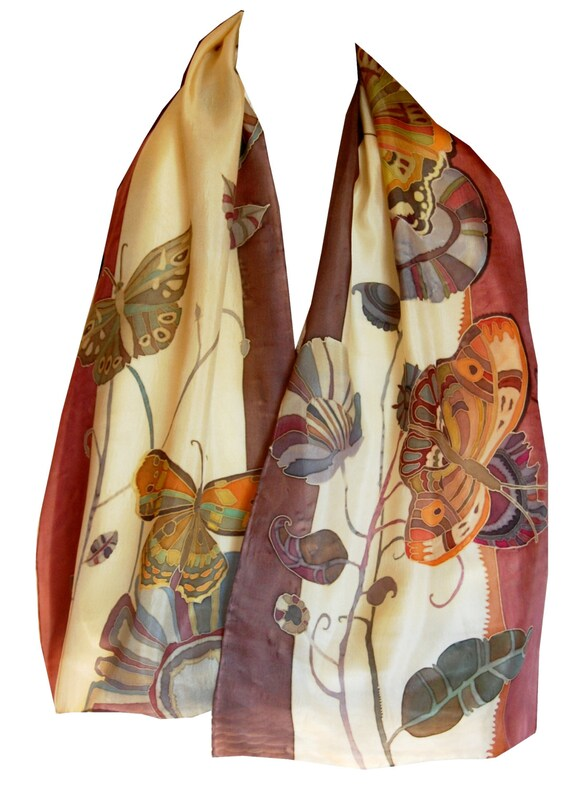Dancing In The Fall Flowers and Butterflies Hand Painted Silk Scarf. Autumn Gift For Her. Wearable Art. Brown, Ocher, Beige, Bordo, Red
