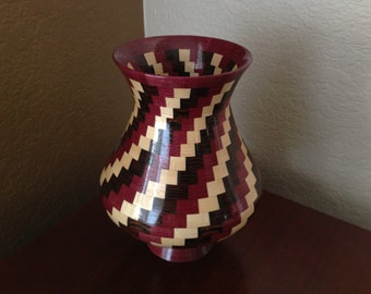 Earth Tone Spiral Themed Segmented Wood Vase with Purple Accent