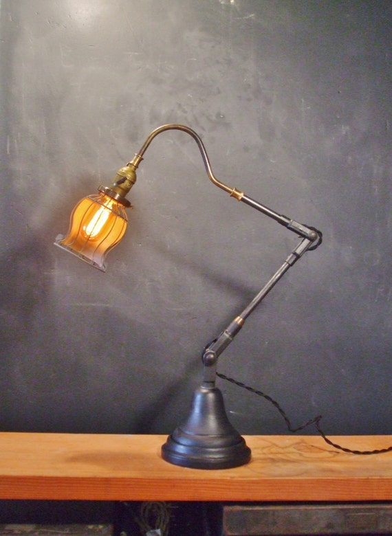 Articulating Lamp Parts Vintage Industrial Desk Lamp w/ Bell Cage - Machine Age Task Light ...