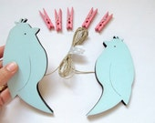 kids  Art display hanger- Two aqua and pink Birds- - kids wall art, girls wall art - kids photos display