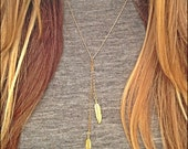 Double Feather Lariat Necklace - GOLD