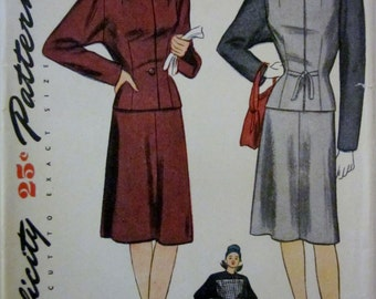 Simplicity 1447 Womens 40s Suit Jacket and Skirt Sewing Pattern Bust 32