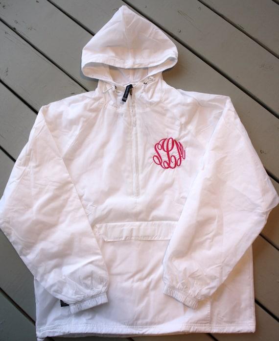 items similar to monogrammed half zip pullover rain jacket on etsy