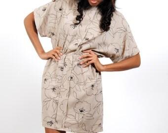 Vintage Mini Dress - Boho Tan Floral Summer Dress - Small