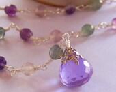 Rainbow Fluorite Necklace, Beadwork Necklace, Pendant Necklace, Strand Necklace, Gemstone Necklace, Rosary Style, Birthday, Autumn Trends