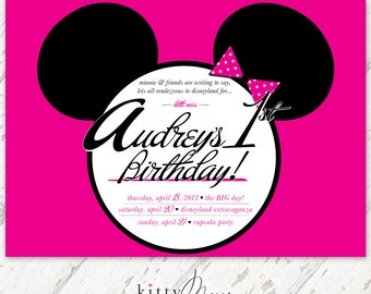Minnie Mouse, Mickey Mouse, Hot Pink & Black, Retro, Birthday Invitations