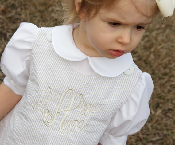 Girls Monogrammed Beige and White Seersucker Jumper Dress