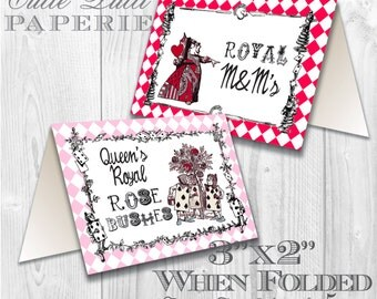 Queen of Hearts Party, Alice in Wonderland Party Printable Tent Signs by Cutie Putti Paperie