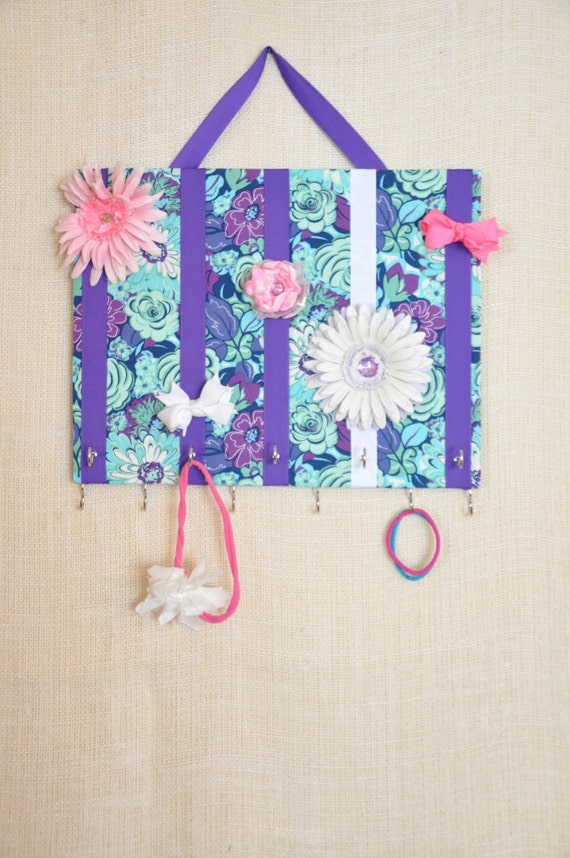 JEWELRY ORGANIZER, Jewelry Bow Board- Hair Bow Organizer- Purple Floral- 11x14 inches, 11 Large Hooks