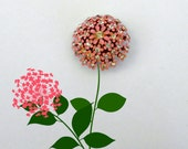 Vintage Pink and Rhinestone Flower Cluster Brooch Pin - The Secret Garden Collection