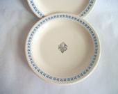 Vintage Homer Laughlin Ironstone Bread Plates with Blue Trefoil/Clover