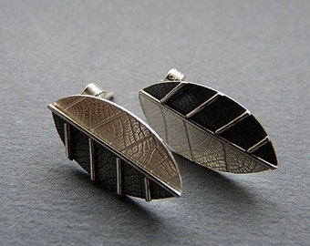 Sterling silver earrings. Silver stud earrings. Sterling silver post earrings. Silver leaf studs. Silver jewellery. Handmade. MADE TO ORDER.