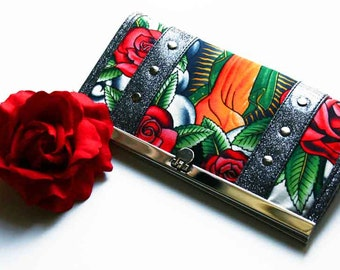 Black Folklorico Wallet with Your Choice of Vinyl Trim - MADE TO ORDER