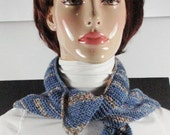Scarves - Triangle Scarf  - Neck Tie with Stunning Modern Colors - Opal Sock Yarn Multiple Blue Shades
